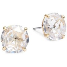 Kate Spade New York Crystal Stud Earrings ($38) ❤ liked on Polyvore featuring jewelry, earrings, gold tone earrings, post back earrings, earring jewelry, kate spade jewelry and kate spade earrings