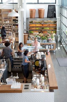It's not everyday that an incredibly well designed and gorgeous space opens up. Be great if all retail stores had a coffee shop to add to the experience Restaurant Bar, Restaurant Design, Coffee Shop Design, Cafe Design, Healdsburg Shed, Cafe Counter, Coffee Shop Counter, Retail Counter, Counter Space