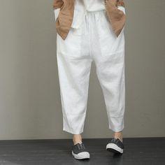 Vintage Linen Casual Pants For Women Loose Trousers Wide Leg Linen Pants, Linen Trousers, Pantalon Large, Pants For Women, Clothes For Women, Type Of Pants, Pants Pattern, Linen Dresses, Casual Pants