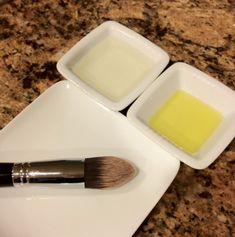 DIY Brush Cleaner: Dish washing liquid + olive oil.