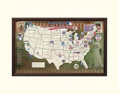 Alright baseball fans, our updated 2013 MLB Ballpark Traveler Map is here! This unique baseball map displays all the major league baseball stadiums (past and present) throughout the country on a one-of-a-kind framed baseball print. Perfect for tracking baseball road trips and favorite stadium destinations. $149.00 #MLB #Baseball #Travel