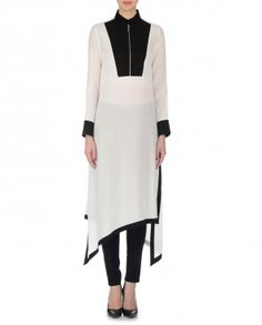 Ivory and Black Tunic with Asymmetric Hemline