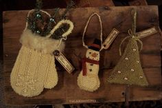 Primitive Mitten Snowman Christmas Tree- Punch Needle Original Ornaments 3 sold for for $137