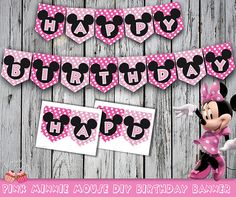 Pink Minnie Mouse Happy Birthday Banner by 1EverythingNice on Etsy