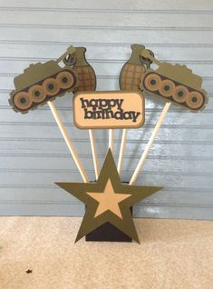 Army Birthday Centerpiece by NoOneLikeYou on Etsy Army Themed Birthday, Army Birthday Parties, Army's Birthday, Birthday Party Themes, Camouflage Party, Camo Party, Army Party Decorations, Soldier Party, Military Party