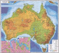 highly detailed russian topographical map of australia with towns and cities