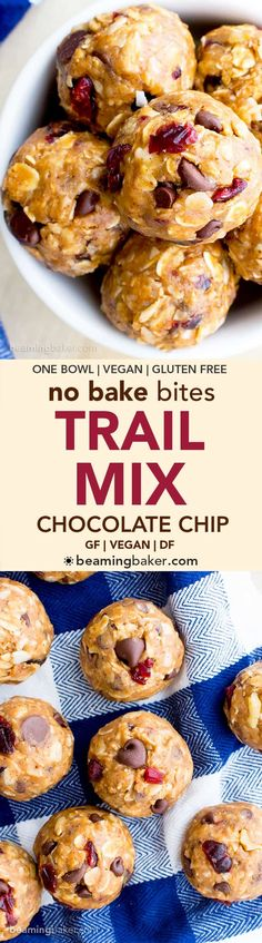 No Bake Chocolate Chip Trail Mix Energy Bites (V, GF, DF): a one bowl recipe for protein-packed energy bites bursting with whole ingredients. (Vegan Chocolate No Bake) Vegan Treats, Vegan Snacks, Healthy Treats, Healthy Desserts, Healthy Munchies, Vegan Menu, Raw Vegan, Dairy Free Recipes, Vegan Recipes