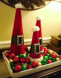 ♥ these gorgeous D.I.Y Santa Clause cones! Perfect last minute D.I.Y Holiday Décor! #christmasdecor #holidaydecor #diy
