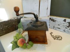 Vintage Dovetailed Hardwood Cast Iron Coffee Grinder by allthatsvintage56 on Etsy