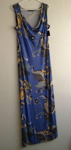 TAHARI Georjeanna Blue Fresh Water Maxi Dress