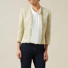 Precis Petite Ivory/yellow/navy tweed jacket- at Debenhams.com