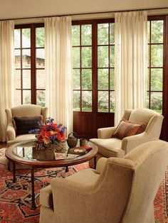 Living Room with a Red Sofa and Patterned Coffee Table : Designers' Portfolio : HGTV - Home & Garden Television