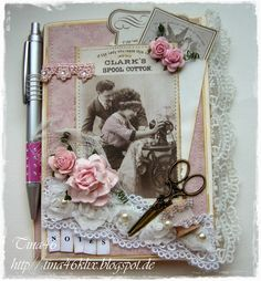 Altered notebook by LLC DT Member Tina Klix. Papers and images from Pion Design; Flower Frames & Alma's Sewing Room collections.