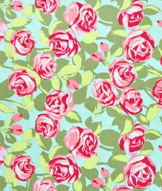 Amy Butler Tumble Roses Pink Fabric - Loving the big bright florals right now!