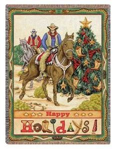 """#Cowboys ride on this machine washable holiday throw w/ Christnas #tree and reads """"Happy HOLIDAYS!"""""""