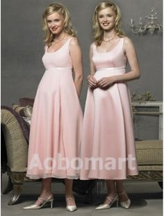 Ball Gown Scoop Tea-length Chiffon Maternity Bridesmaid Dress