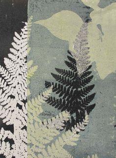 Hand printed original botanical print. Fern leaf  English country woodland walk. Dusky vintage heritage green Influenced by Japanese art