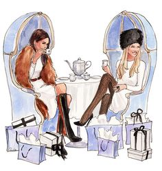 ~Fashionable Tea at Bergdorf Goodman BG Restaurant -  2015 Inslee Calendar | Illustration by Inslee By Design | House of Beccaria