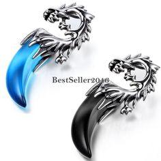 Edelstahl Anhänger Halskette Achat Blau Schwarz Silber Wolf Zahn Stammes