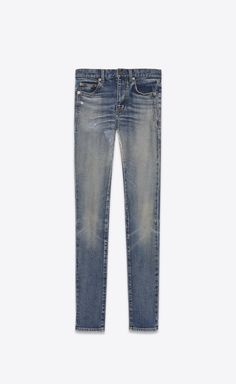 SAINT LAURENT Skinny fit Woman Mid-rise skinny jeans in faded blue denim V4