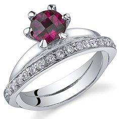 Created Ruby Band Ring Sterling Silver Rhodium Nickel Finish 1.00 Carats Size 5 *** You can get additional details at the image link.