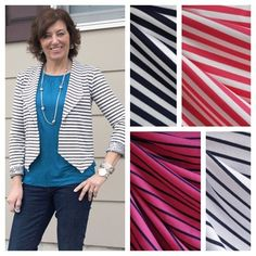 Are you loving @girlsinthegarden's new #morrisblazer as much as we are? Check out these great ponte and French terry stripe available now in the shop along with the amazing French terry ponte hybrid Lori used! #stylemakerfabrics #springfabrics by stylemakerfabrics