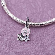 Pandora Three Flowers Dangle Charms With Pink White And Clear Color #2016pandoraspringcollection #pandora2016 #pandoracharms