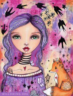 Swallows Flying In - Art Print - Willowing Arts Kunstjournal Inspiration, Art Journal Inspiration, Art Challenge, Fantasy Kunst, Fantasy Art, Tamara, Art Prompts, Naive Art, Angel Art