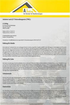 leistungen-dach-facebook-impressum-tab -- www.Leistungen-Dach.de sind seit 1990 als Softwareberater für verschiedene Softwarehäuser im Dachdeckerhandwerk unterwegs und vermitteln den Leistungskatalog für Dachdecker. -- Facebook Impressum, App Tab, Pflicht Impressum, Social Media Impressum