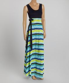 Look at this Navy & Blue Abstract Stripe Tie-Waist Maxi Dress on #zulily today!