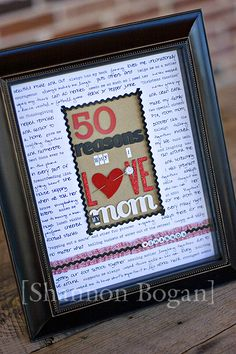 50 Reasons Frame Moms 50th Birthday Gift50th PresentsHomemade