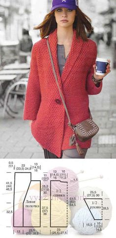 Jacket spokes a simple pattern from Stricktrends. Crochet Coat, Knitted Coat, Crochet Jacket, Knit Jacket, Crochet Cardigan, Crochet Clothes, Cardigan Outfits, Cardigan Pattern, Knit Fashion