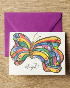 I could modify this design to compliment our church logo .... I think.   25 Butterfly Folded Notes by KELLY KAY at Neiman Marcus.