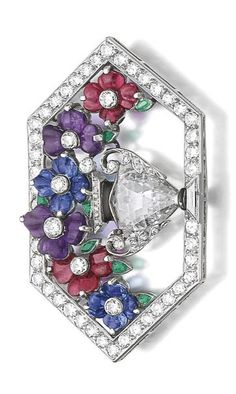 Gem set and diamond brooch, circa 1930 Of giardinetto design, the vase set with a fancy-cut diamond, decorated with polished ruby, sapphire and amethyst petals, framed and accented with circular- and single-cut diamonds and black enamel, one small emerald deficient.