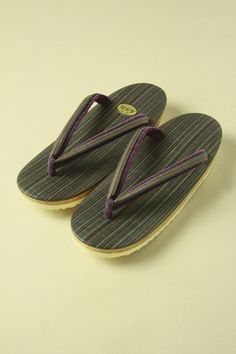 Gray and purple zouri shoes / グレーと紫の西陣織縞柄 ウレタン底の軽装草履  #Kimono #Japan http://global.rakuten.com/en/store/aiyama/