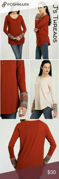 Long sleeve thermal cuff tunic Super cute and soft long sleeve shirt features button up top and thermal pattern cuff. Material: 96% Terry Rayon 4% Spandex Not free people, listed for exposure.  Brand: Loveriche Free People Tops Tunics