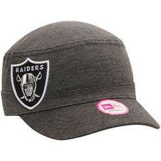 Women's Oakland Raiders New Era Heather Black Night Faller Militrary Cap Hat