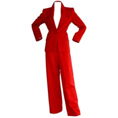 Pre-owned Isaac Mizrahi Vintage Lipstick Red Holiday Le Smoking Suit (€800) ❤ liked on Polyvore featuring suits, suits outfits and ensembles and trouser pant suits