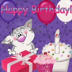 Animated Happy Birthday, Keefers photo by Keefers_ Happy Birthday Didi, Happy Birthday Gif Images, Birthday Wishes For Kids, Happy Birthday Wallpaper, Birthday Blessings, Happy Birthday Greeting Card, Happy Birthday Messages, Happy Birthday Quotes, Birthday Greetings