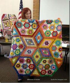 Hexie quilt shared at Bonnie Hunter workshop