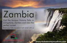 """You can now hire your fully equipped 4x4 vehicle to visit the amazing Zambia. In southern Africa, is a landlocked country of rugged terrain and diverse wildlife, with many parks and safari areas. On its border with Zimbabwe is famed Victoria Falls – indigenously called Mosi-oa-Tunya, or """"Smoke That Thunders"""" – plunging a misty 108m into narrow Batoka Gorge. Spanning the Zambezi River just below the falls is Victoria Falls Bridge, a spectacular viewpoint. #4x4adventuresafrica #4x4hire #zambia Victoria Falls, Zimbabwe, Niagara Falls, 4x4, Parks, Safari, Vehicle, Bridge, Wildlife"""