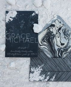 Black and White Marble Wedding Inspiration - United With Love | Marble Black and White Invitation with Marble Envelope