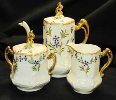 P & FILS SONS LIMOGES TEA FOR ONE COFFEE POT CREAMER AND SUGAR BOWL SET SMALL