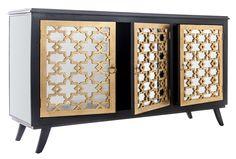 Aparador de color oro y negro con tres puertas decoradas con espejos. Aparador buffet exclusivo edición limitada