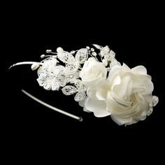 Opentip.com: Elegance by Carbonneau HP-9614-S-Ivory Dainty Side Accented Ivory Fabric Lace Flower Bridal Headband