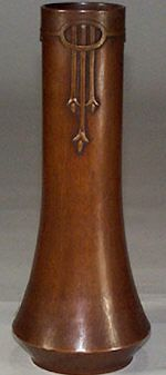 Spectacular and very rare Karl Kipp copper vase. Corseted form with applied arts and crafts style decoration. c. 1914