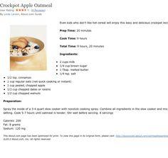 Crockpot Apple Oatmeal (use steel cut oats)