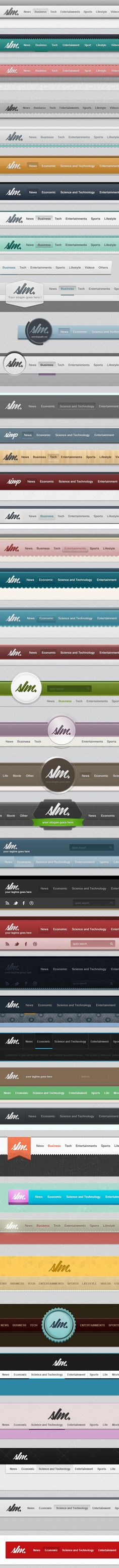 Navigation bars for days! There are a LOT of ideas here that just can't be… Graphic Design Tools, Tool Design, Design Projects, Ui Elements, Design Elements, Branding, Wedding Website Design, Header Design, Navigation Bar