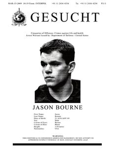 Available as Posters, Prints, and CardsTags: Jason Bourne,  Wanted poster