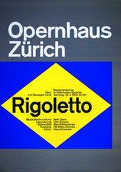 """""""Rigoletto"""" Poster, Opernhaus Zürich, 128 x 90 cm (50,40 x 35,50 inch), 1969"""